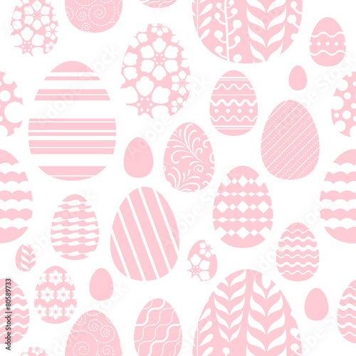 Cotton fabric Seamless easter eggs pattern in pink color.