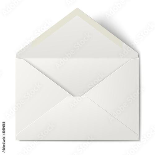Fotografía  White opened envelope isolated on white background