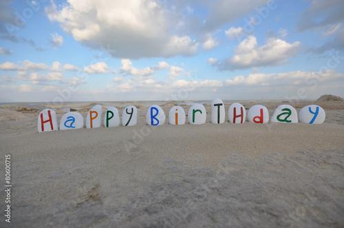 Photo  Happy Birthday on multicolored stones