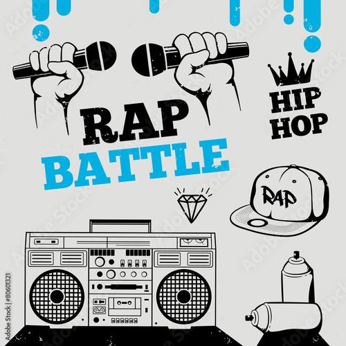 Photo  Rap battle, hip-hop, breakdance music icons, elements