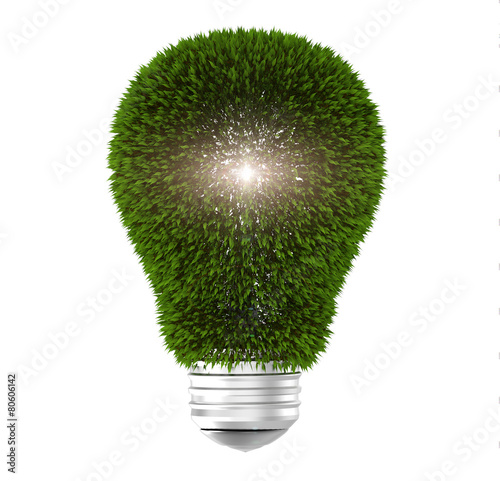 Photo Light bulb with green leaves