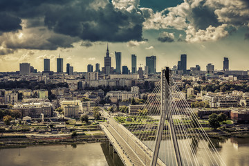Fototapeta Warszawa Warsaw skyline behind the bridge vintage view, Poland