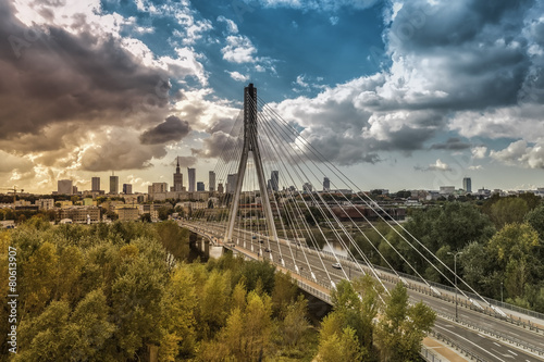 Warsaw skyline behind the bridge, Poland #80613907