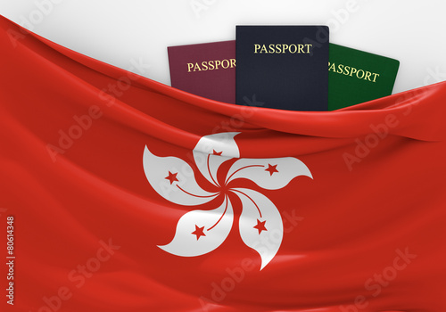 Travel and tourism in Hong Kong, with assorted passports Poster