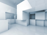 Abstract 3d architecture background, empty interior
