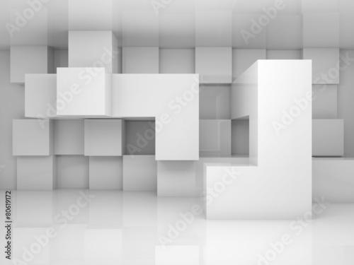 Abstrakcjonistyczny wnętrze z białym chaotycznym sześcianu wzorem