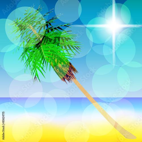 Spoed Foto op Canvas Turkoois Summer landscape. Vector. 8