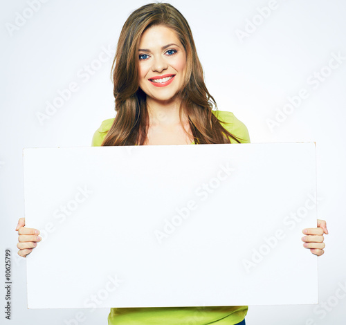 Fotografering  smiling woman holding blank business sign board.