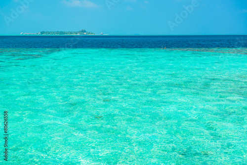 Sand beach and ocean wave, South Male Atoll. Maldives Wallpaper Mural