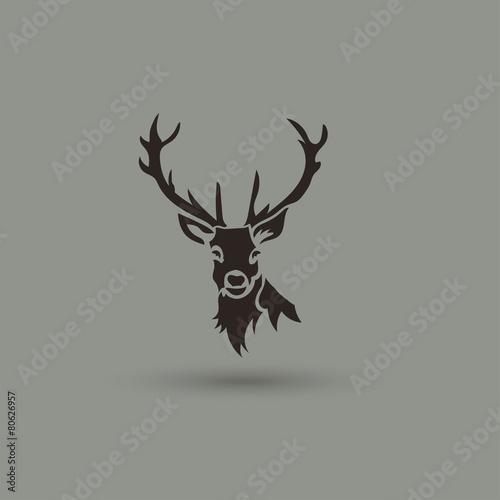 Fotografie, Obraz  Artistic vector silhouette of a deer. Creative idea logotype.