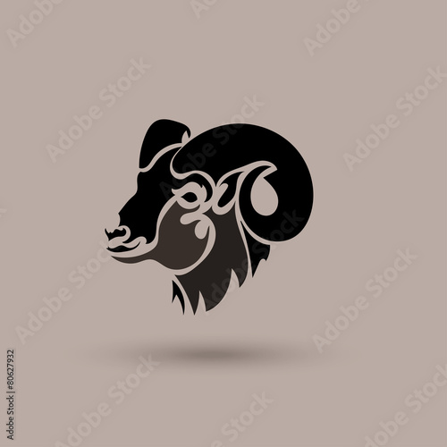 Fotografie, Obraz  Vector silhouette head wild sheep. Stylized animal logotype.