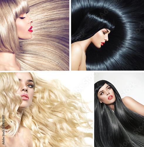 Plakat Wiele zdjęć pani z różnymi fryzurami