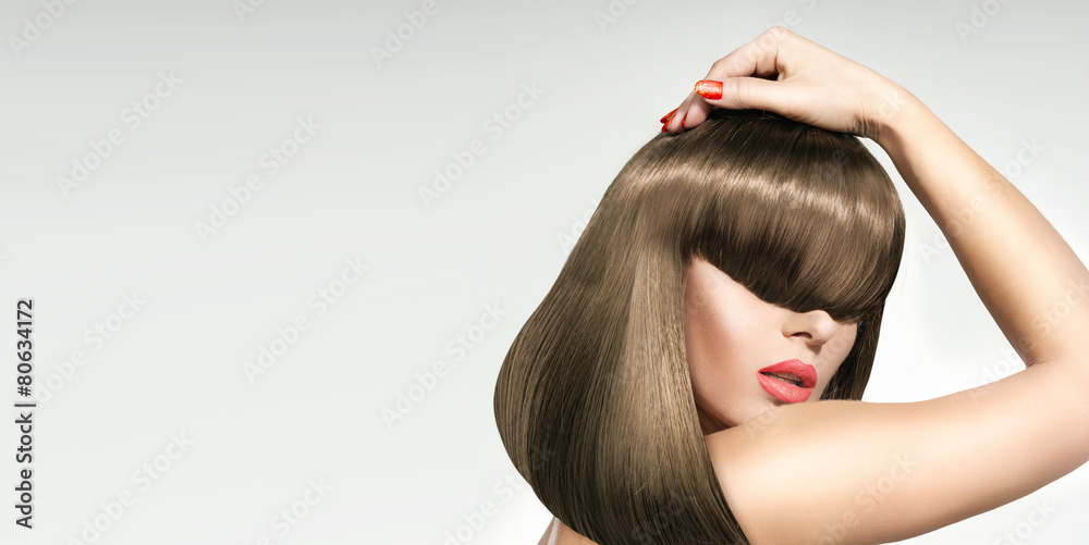 Fototapety, obrazy: Closeup portrait of the the woman with trendy coiffure