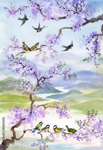 ptaki-na-galezi-wisni