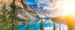 Moraine lake Rocky Mountains panorama