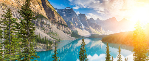 Recess Fitting Canada Moraine lake Rocky Mountains panorama