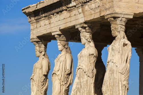 Tuinposter Athene Famous Caryatides in Acropolis, Athens, Greece