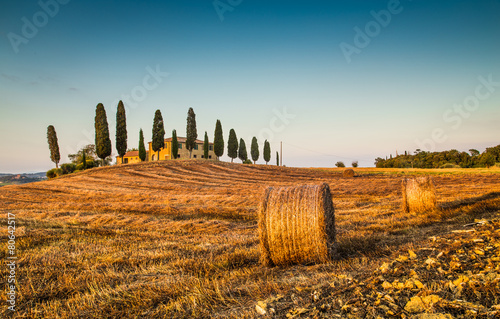 Poster Miel Tuscany landscape with farm house at sunset, Val d'Orcia, Italy