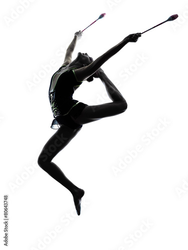 Spoed Foto op Canvas Gymnastiek Rhythmic Gymnastics teeenager girl woman silhouette