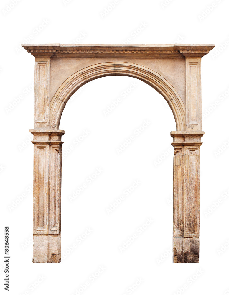 Fototapeta Ancient arch isolated on white background