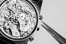 Vintage Watch Movement Repair And Tweezers