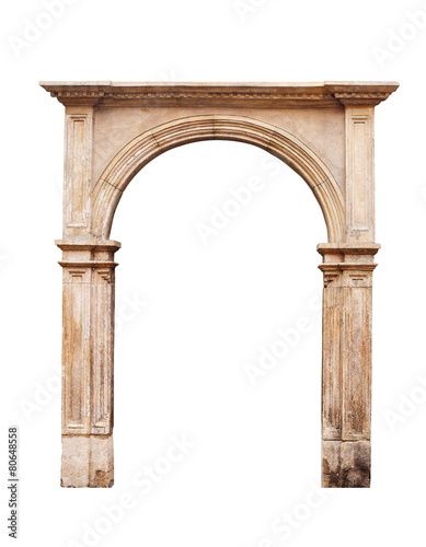 Ancient arch isolated on white background Canvas Print