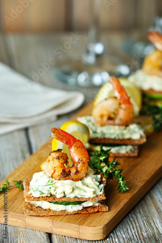 Recess Fitting Appetizer Appetizer canape with shrimp and cucumber