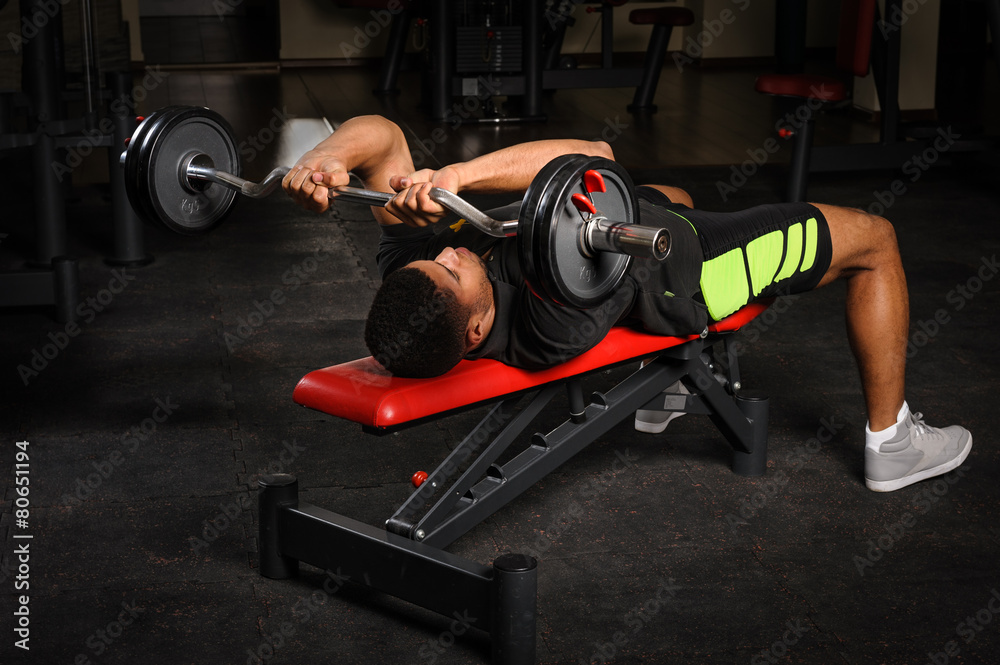 Tremendous Poster Foto Young Man Doing Arms Bench French Press Workout Gmtry Best Dining Table And Chair Ideas Images Gmtryco