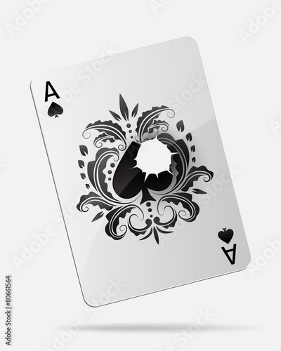 Fotografía  Ace of spades with a bullet hole, isolated on white.