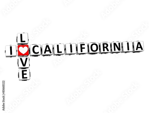 3D Crossword I love California on white background Wallpaper Mural