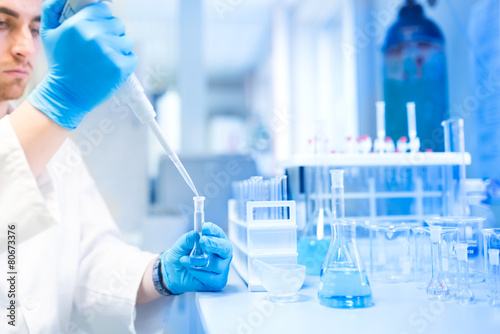 Fotografia  Test tubes in clinic, pharmacy and medical research laboratory