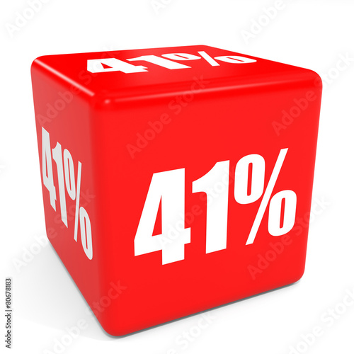Poster  3D red sale cube. 41 percent discount.