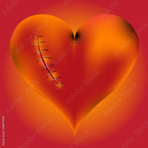 hardwired wounded heart on red-yellow background. Wallpaper Mural