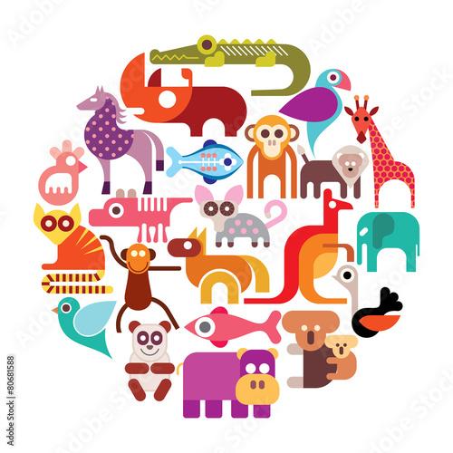 Plakat  Zwierzęta z zoo