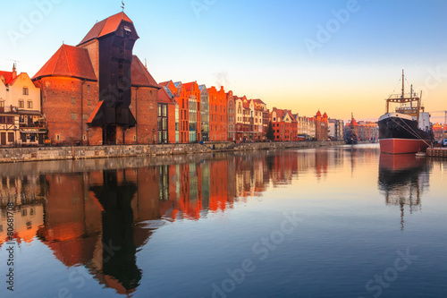 View of Gdansk old town from Motlawa River