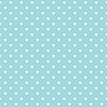Cute Seamless Hearts Lattice Background Pattern Aqua White