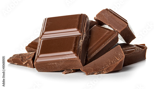 Fotografiet chocolate bars isolated on white background