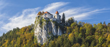 Castle On The Rock On Lake Bled In Slovenia