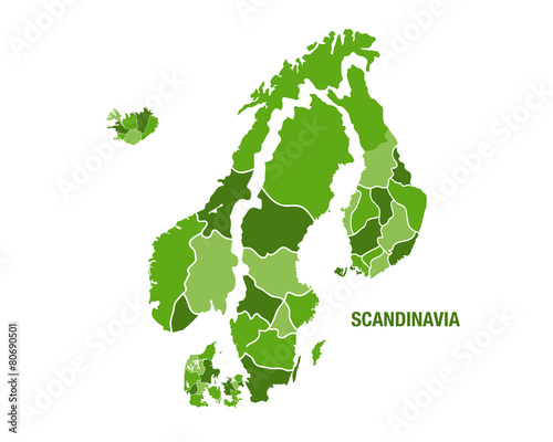 Obraz na plátně Scandinavia map in green
