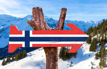Norway Flag Wooden Sign With A...