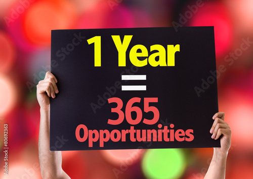 Fotografia  1 Year = 365 Opportunities card with beach background
