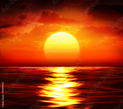 Poster de jardin Mer coucher du soleil big sunset over sea - summer theme