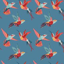 Hummingbird Background - Retro Seamless Pattern