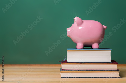 Piggy bank on top of books with chalkboard Canvas Print