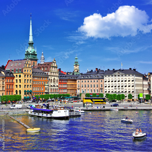 Stampa su Tela  Stockholm, view with canal and old town