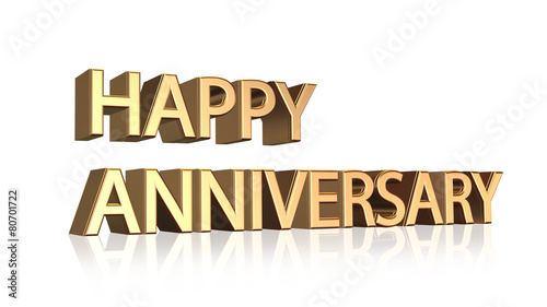 Happy Anniversary message in gold letters on white background - Buy