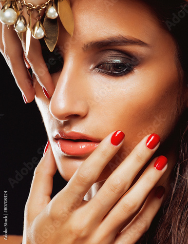 Wall Murals Photo of the day beauty young woman with jewellery close up, luxury portrait of