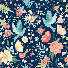 Seamless Pattern With Birds An...