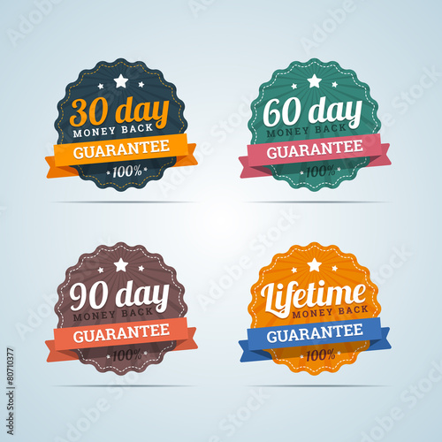 Fotografía  Set of money back guarantee badges in flat style. 30, 60, 90 day