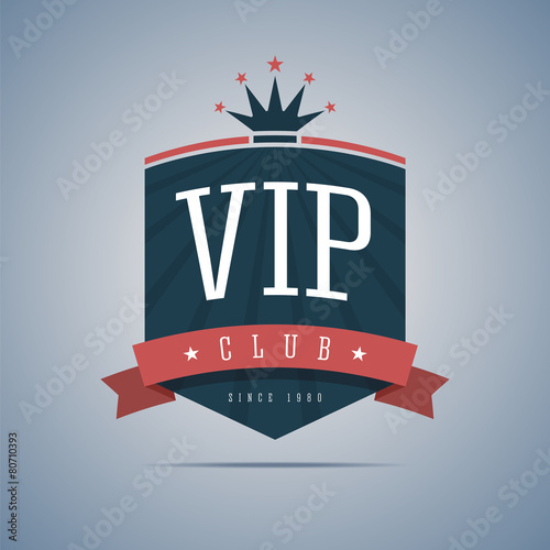 Fotografía  Vip club sign with ribbon, crown and stars.
